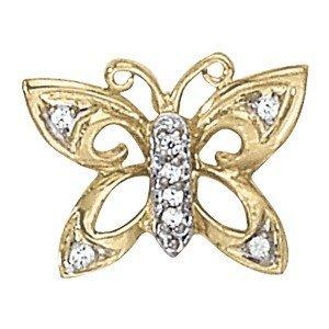 14K Gold 0.12 ctw Round Diamond Pendant.  Brand New!