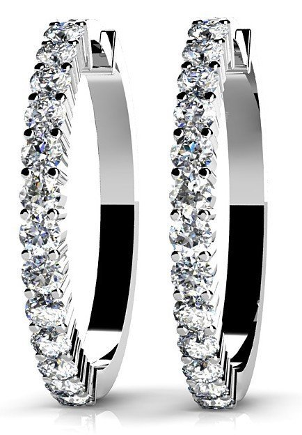 14KT Gold 1.5 ct Diamond Earrings   Featuring 5.6 Grams