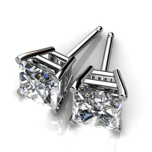 4 Prong 14K Yellow Gold 1 ctw Princess Diamond Stud Ear