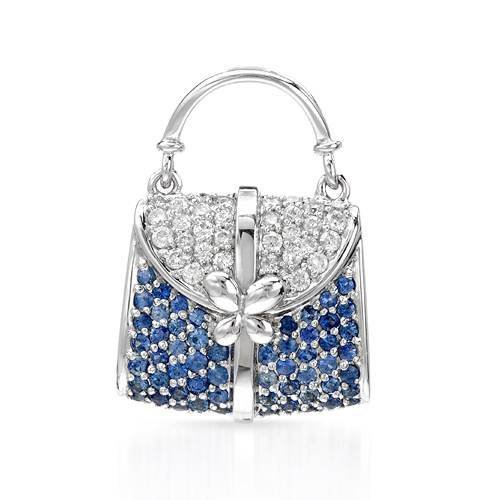 18KT  WHITE GOLD WOMEN'S 1.1 BLUE SAPPHIRE & DIAMOND PE