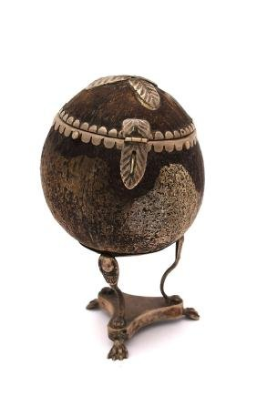 Etrog case made of a coconut interlaced with silver.