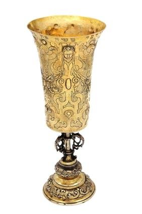 Large and handsome silver goblet. Augsburg, 17th