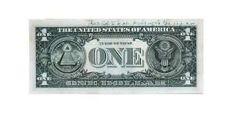 Dollar from the Rebbe, framed. Shvat 1990.