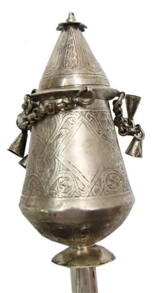 Pair of rimonim for sefer torah, low-quality silver.