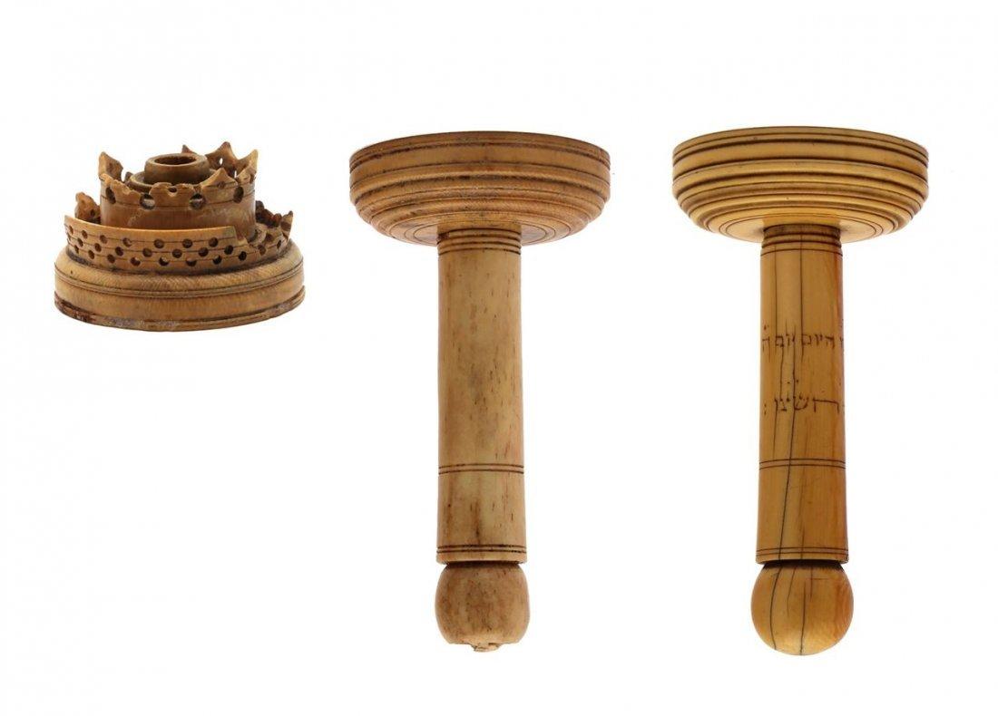Parts of Etzei Hayim made from ivory—bone. Karaite.
