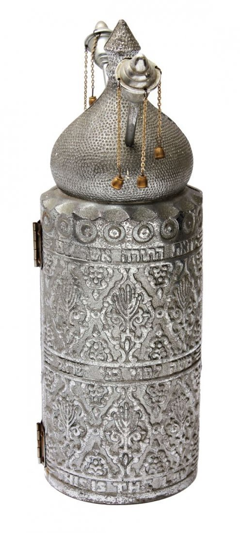 Part of a Sefer Torah on Parchment in a metal - 3