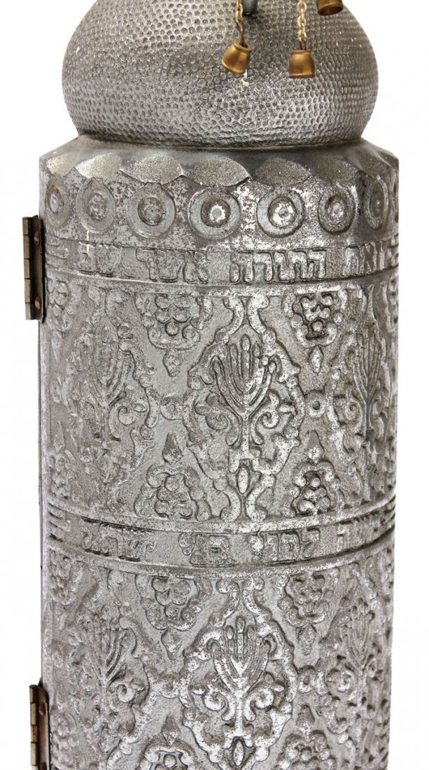 Part of a Sefer Torah on Parchment in a metal - 4