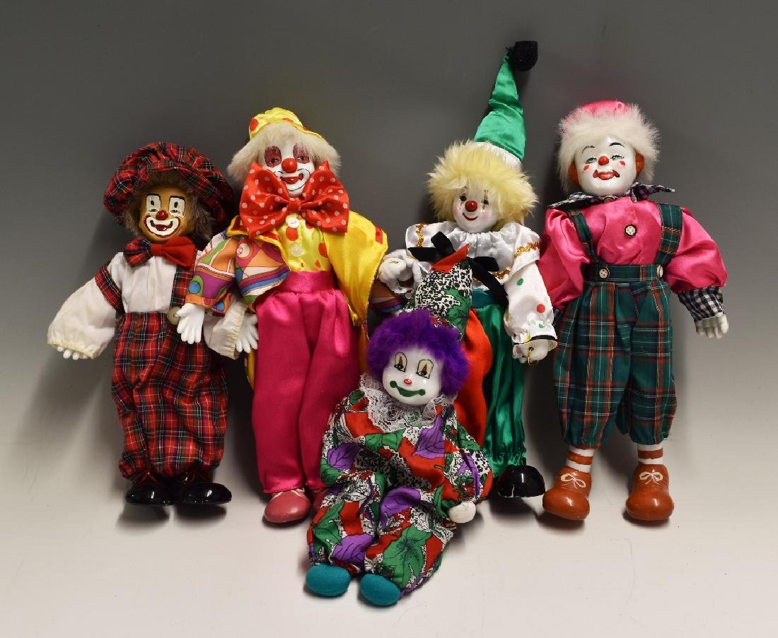 Porcelain Clown Dolls one a wind-up music playing    - Feb 23, 2019