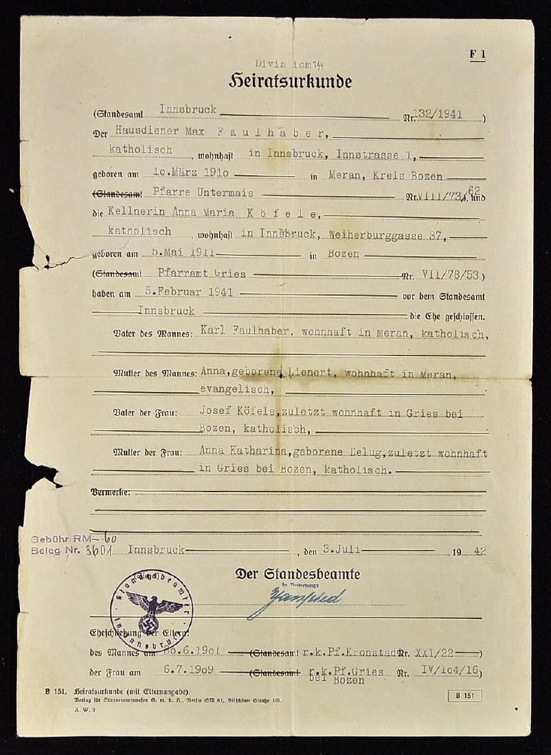 WWII - 1942 German Nazi Wedding Certificate for...