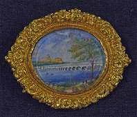 Indian Miniature Painting Brooch depicts Tiruchirapalli