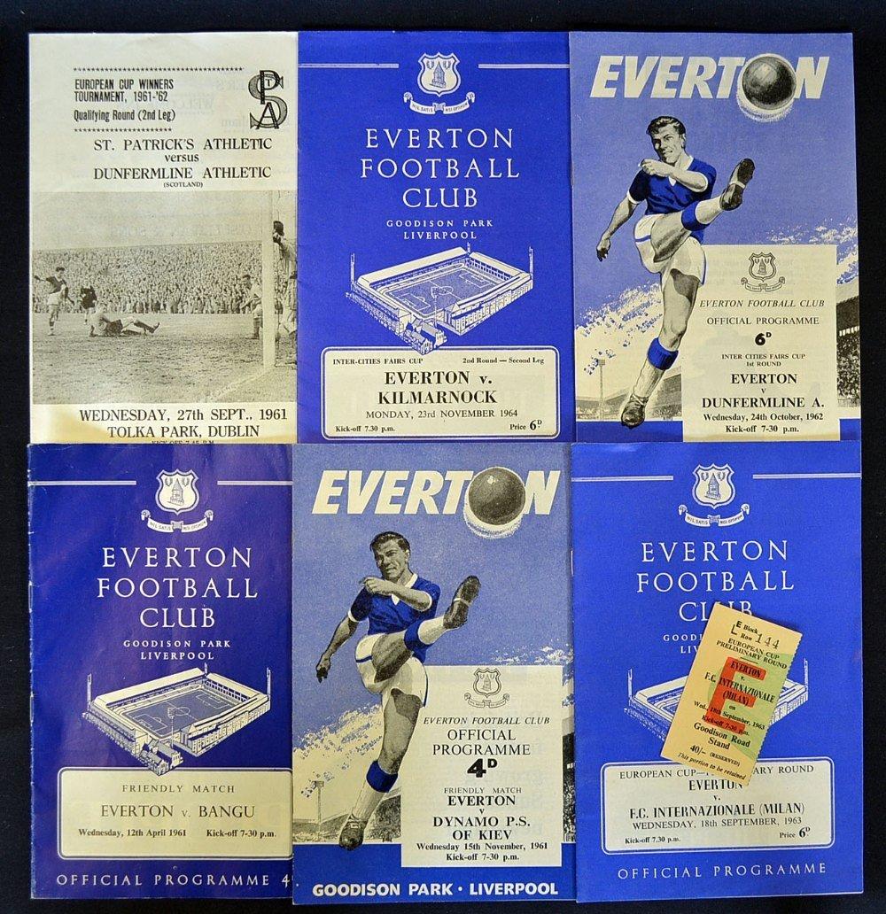 Programme selection 1961 Everton v Dynamo Kiev, v