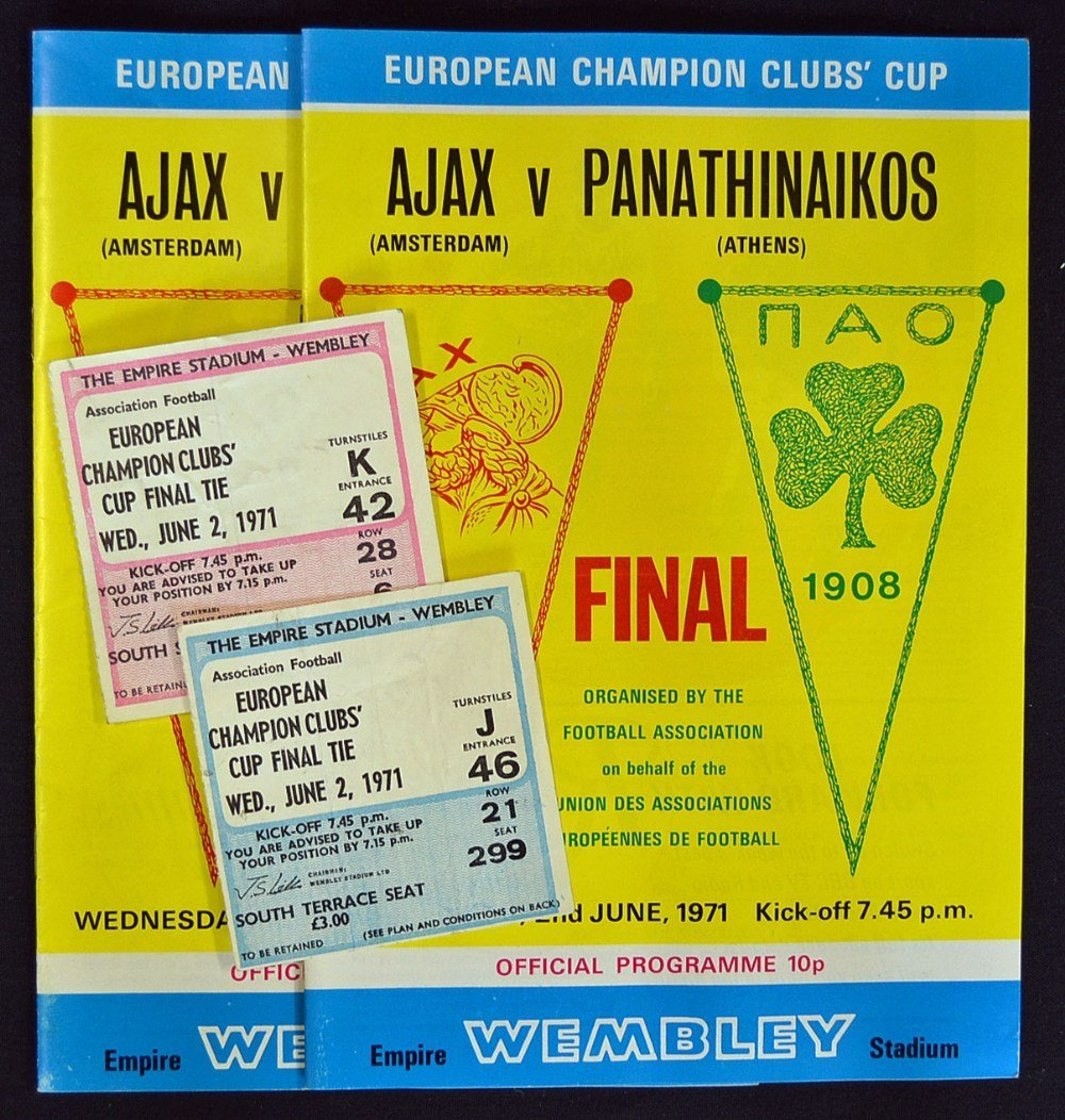 1971 European Cup Final programme Ajax v Panathina