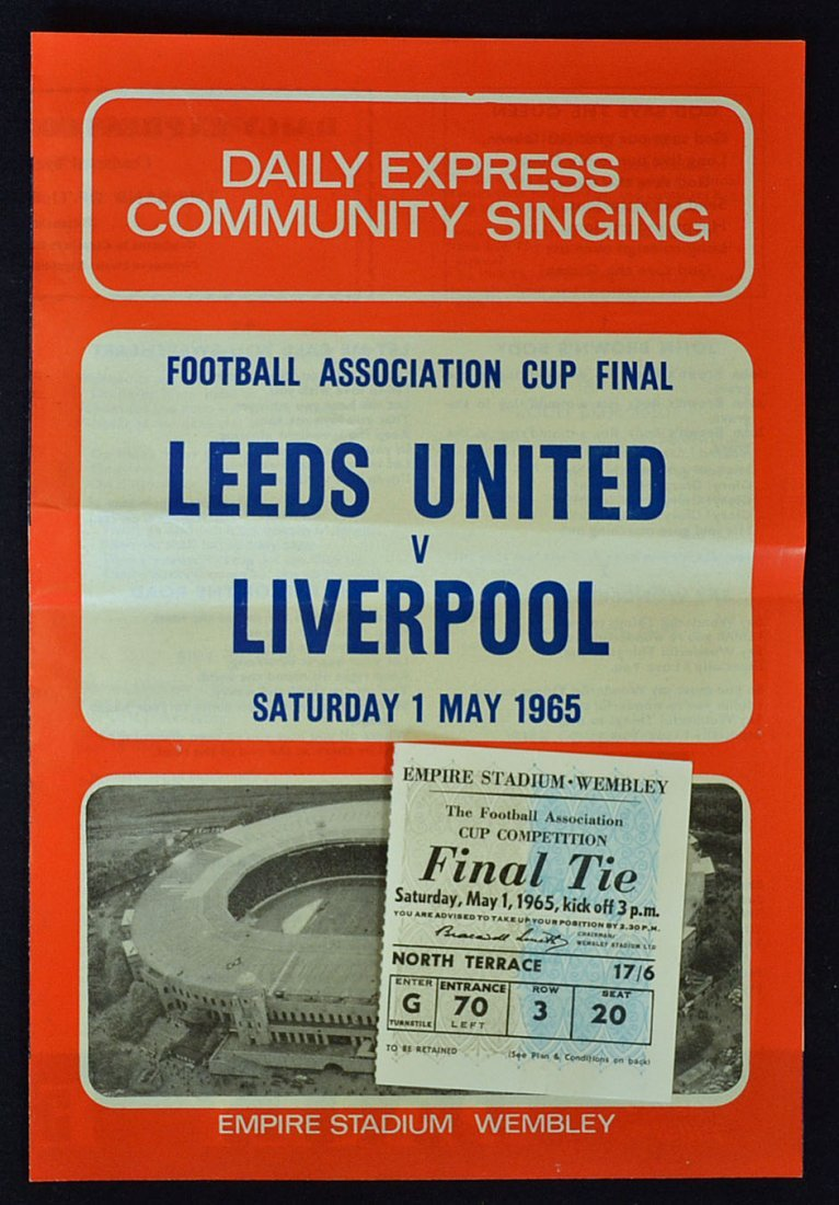 1965 FA Cup Final Community Song Sheet plus Cup Fi