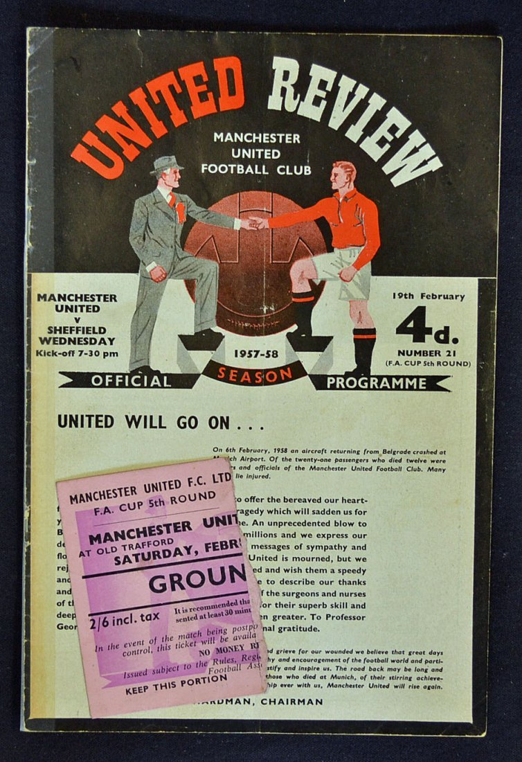 1957/58 Manchester Utd v Sheffield Wednesday FA Cu