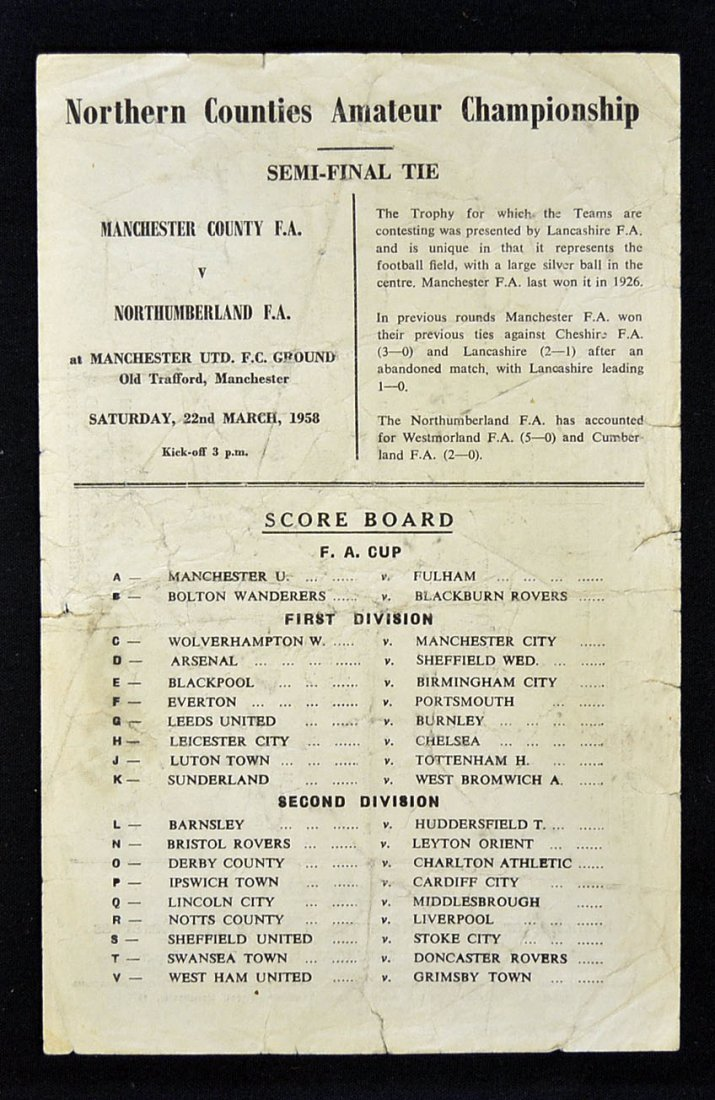 The rarest programme for a match played at Old Tra