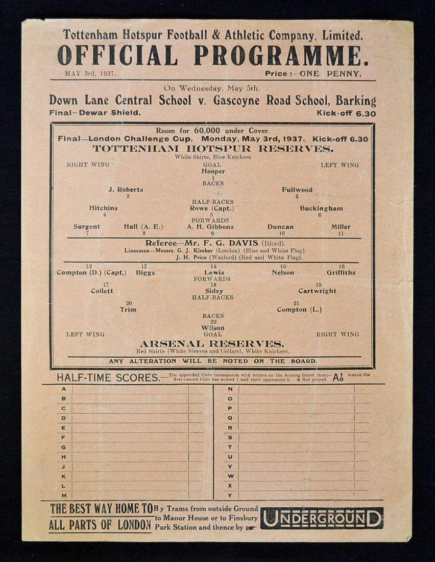 1936/37 Tottenham Hotspur v Arsenal London Challen