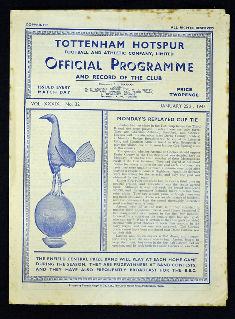 1946/47 Tottenham Hotspur v Arsenal Friendly match