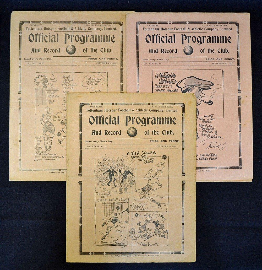 Pre-War Tottenham Hotspur football programmes v 19