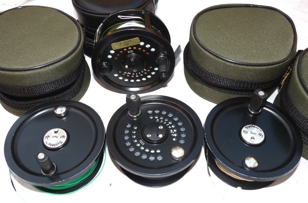 REEL & SPOOLS: (4) System Two 12/13 wide drum