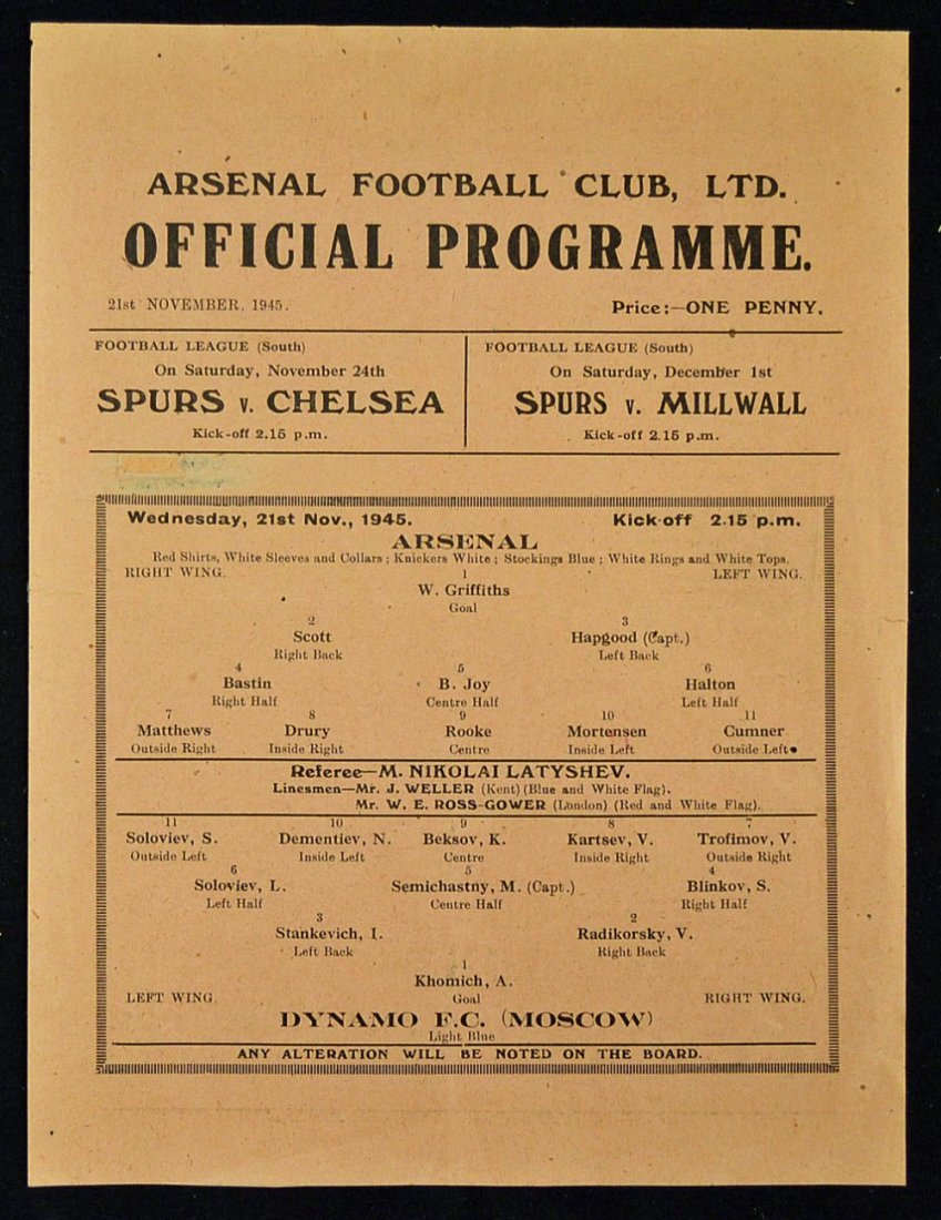 1945 Arsenal v Moscow Dynamo match programme dated