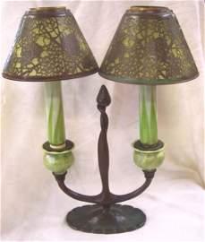 71: Tiffany Studio Double shaded Candlelamp