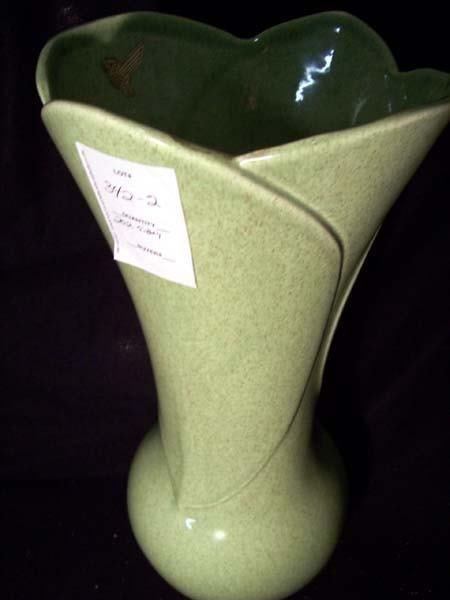 "202: Red Wing 14"" Green Petal Vase"