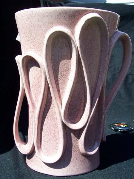 208: Red Wing Pink Fleck Ribbon Handle Vase
