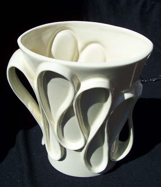 211: Red Wing White/White Ribbon Handle Vase