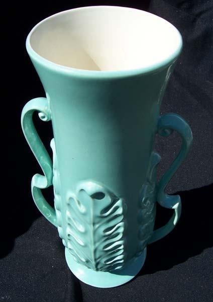 212: Red Wing Dbl. Handle w. Leaf Pattern Vase