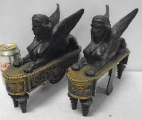 Exquisite French Bronze Chenets