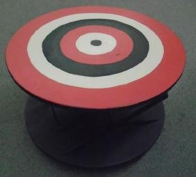 2 Painted Scissor Tables
