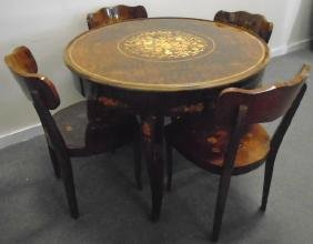 Beautifully Inlaid Game Table with 4 Chairs