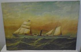 Unframed Oil on Canvas, Sailing Ship