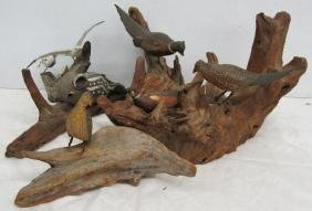 4 Pc lot,Carved Wooden Birds, etc