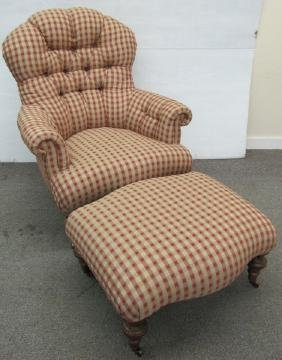 Upholstered Chair w Ottoman
