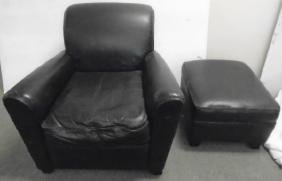 Mitchell Gold Leather Chair & Ottoman