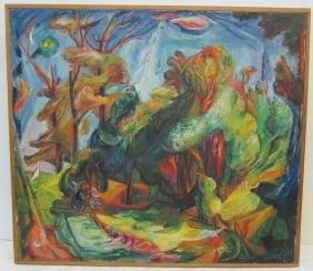 Framed Abstract O/C sgnd Elijah 32 x 36