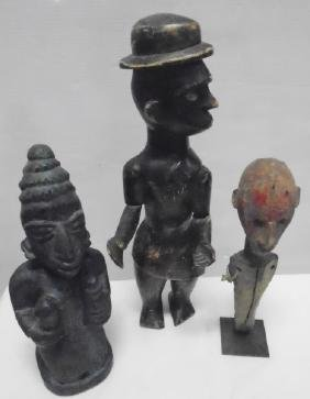 3 Carved African Figures