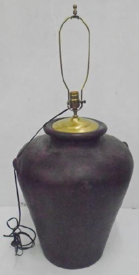 Large Pottery Vessel Mounted as Lamp