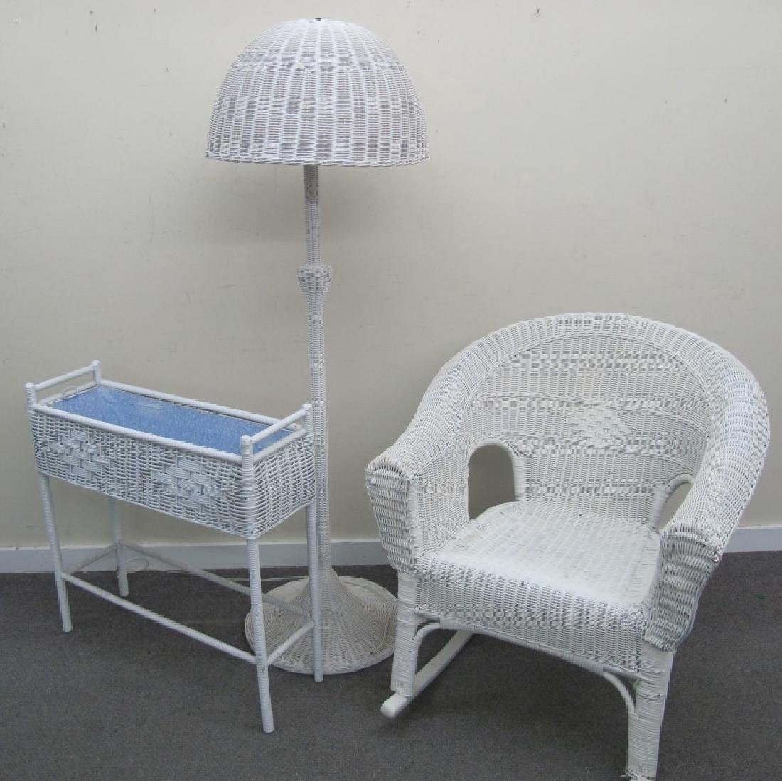3 Pc. Wicker Lot, rocker, floor lamp, planter