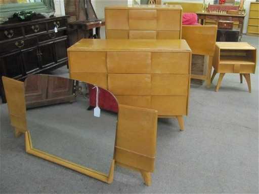 4 Pc Heywood Wakefield Bedroom Set Dresser Bed Tall