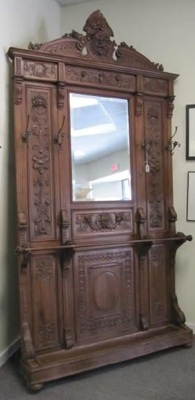 """Massive English Carved Hall Tree 62"""" W X 9'10""""h With"""