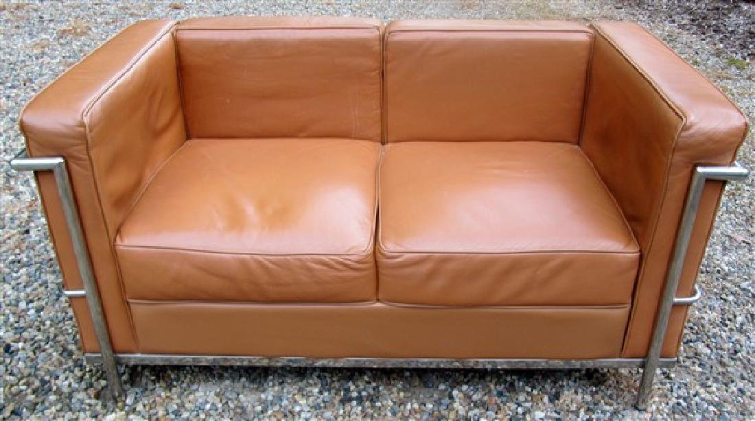 Stylish Modern Leather Loveseat