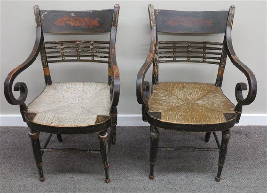 Rare Set of 9 Sheraton 19th Cent Stenciled Chairs