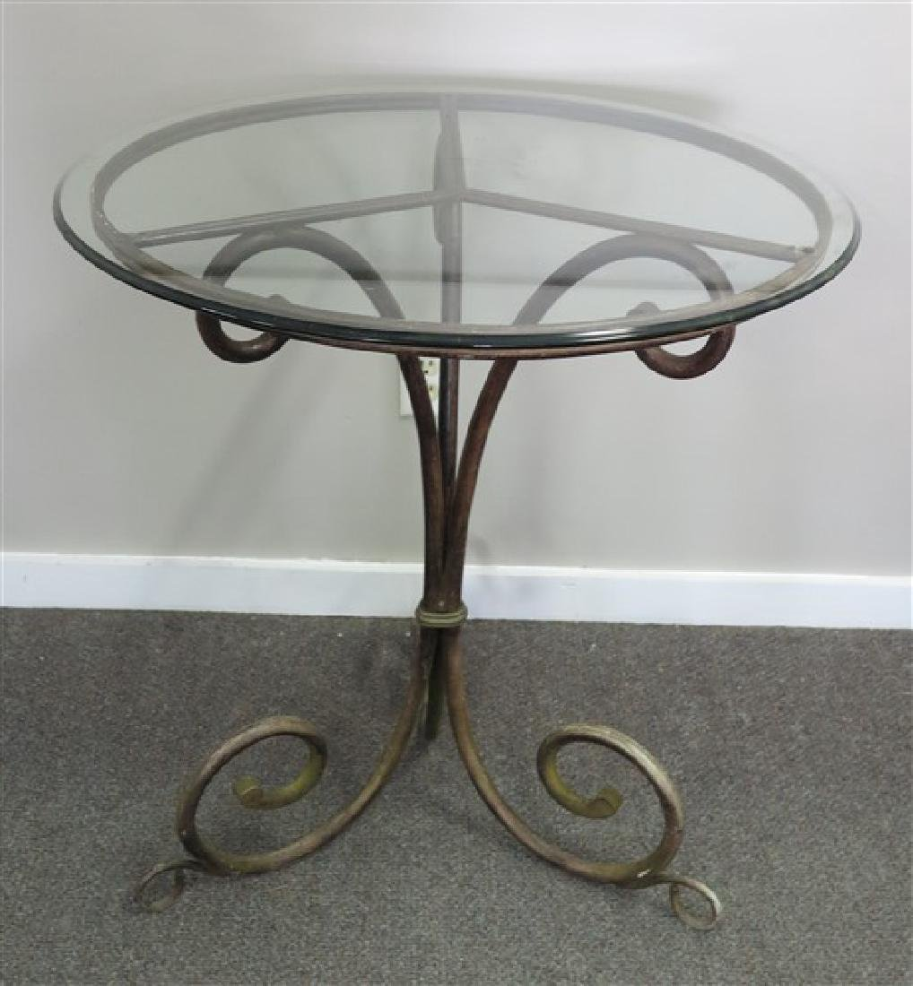 """Glass Top Table with Iron Base 32"""" high"""