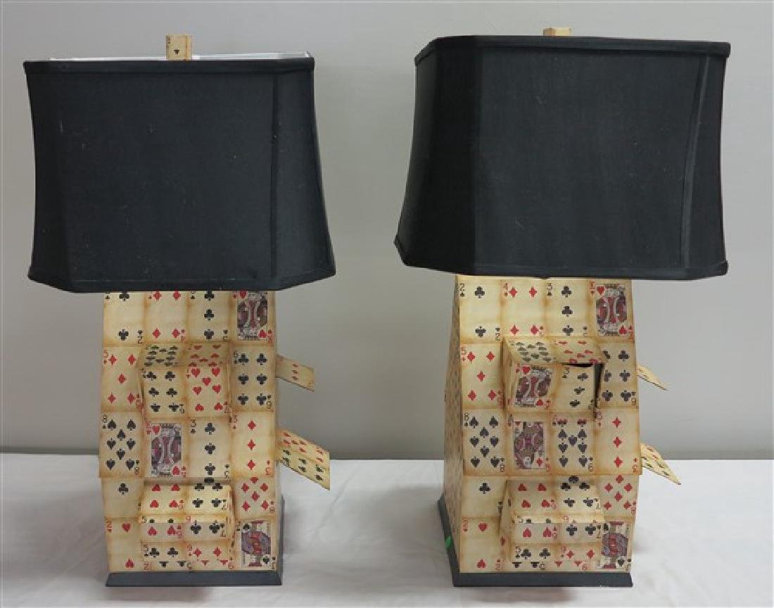 Pr Playing Card Lamps