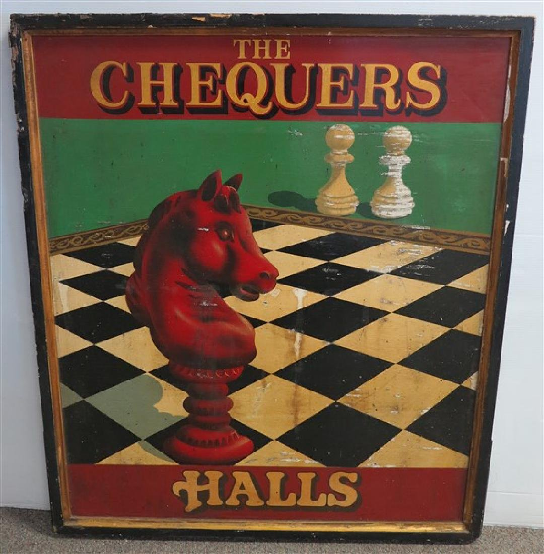 """Double Sided """"Chequers"""" Sign 37x44"""