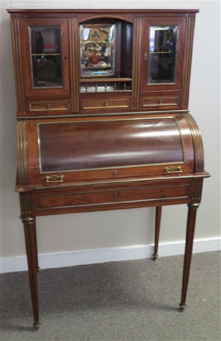 Mahogany Cylinder Roll Desk with Brass Trim