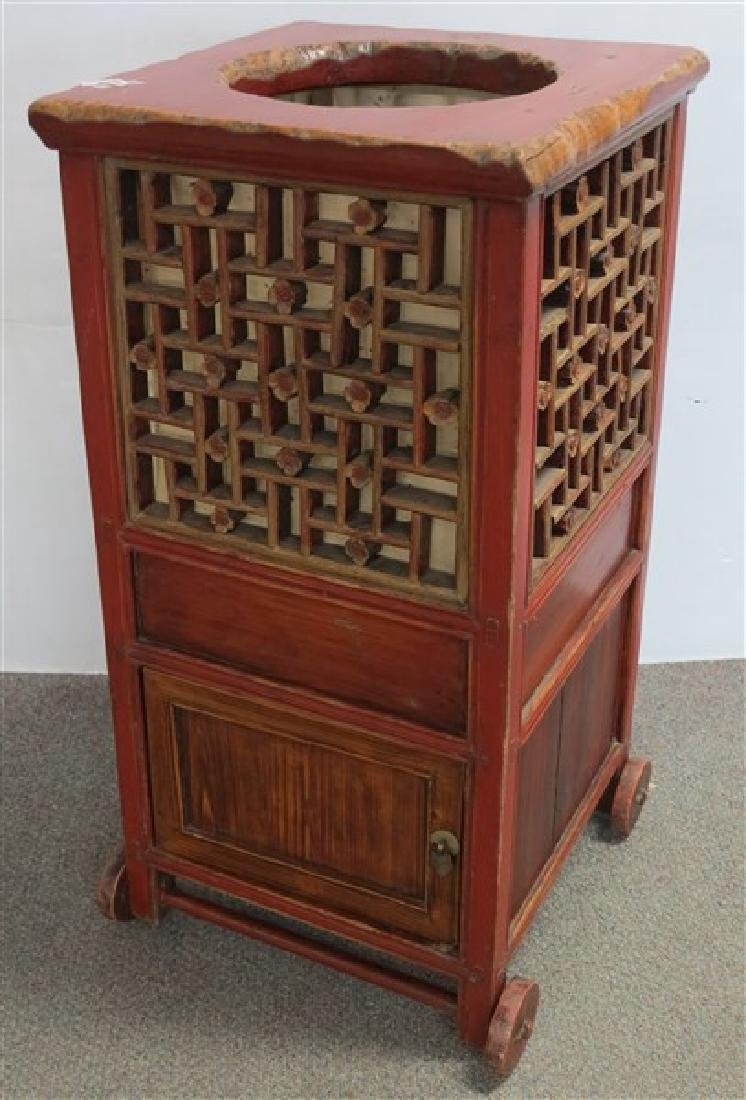 Rolling Oriental Cabinet in Red Paint