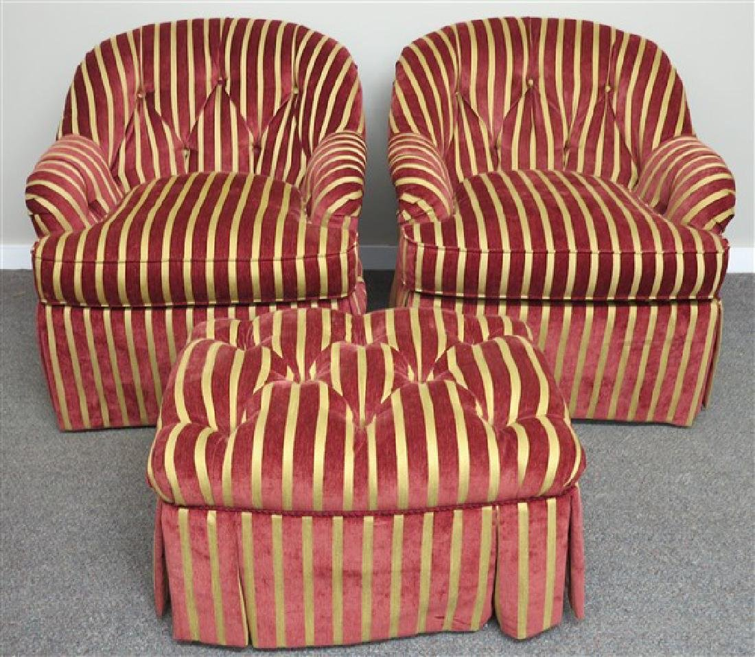 Pr Harden Club Chairs and one Ottoman